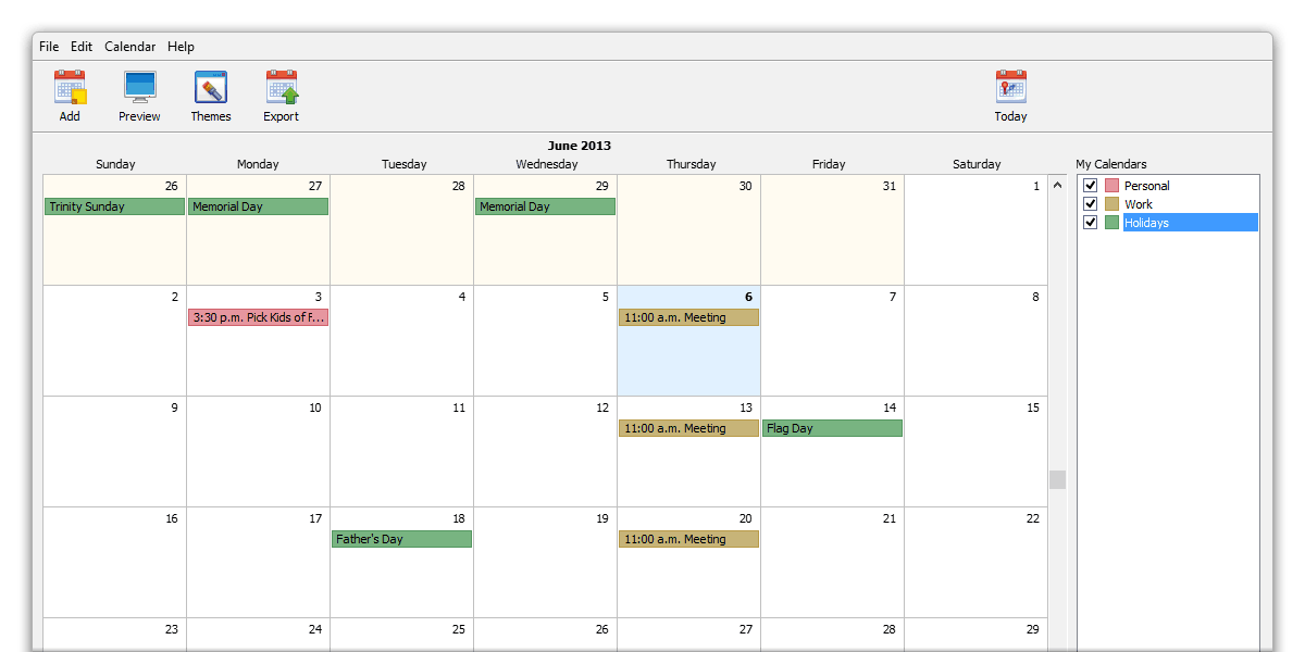 Calendar Design For Website : Web calendar coffeecup software