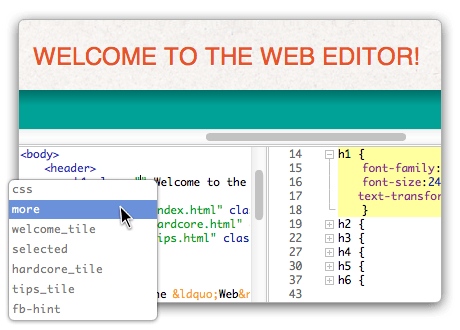 Edit HTML and CSS with a real time, real browser preview. Click an element in the preview and the related code is selected for you!