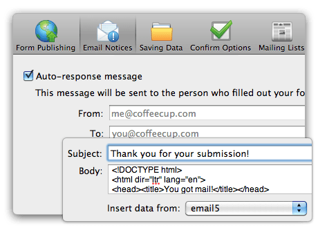 Set Up Mailing Messages